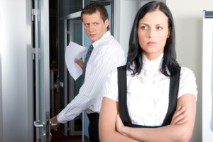 an angry boss and assistant in employment dispute